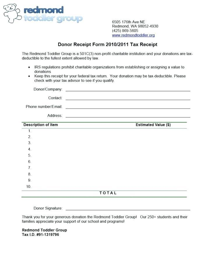 Charitable Trust Donation Receipt Format