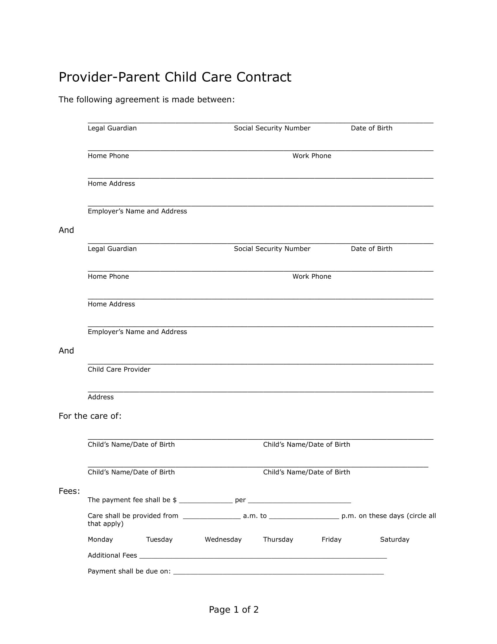 Child Care Contract Template Uk