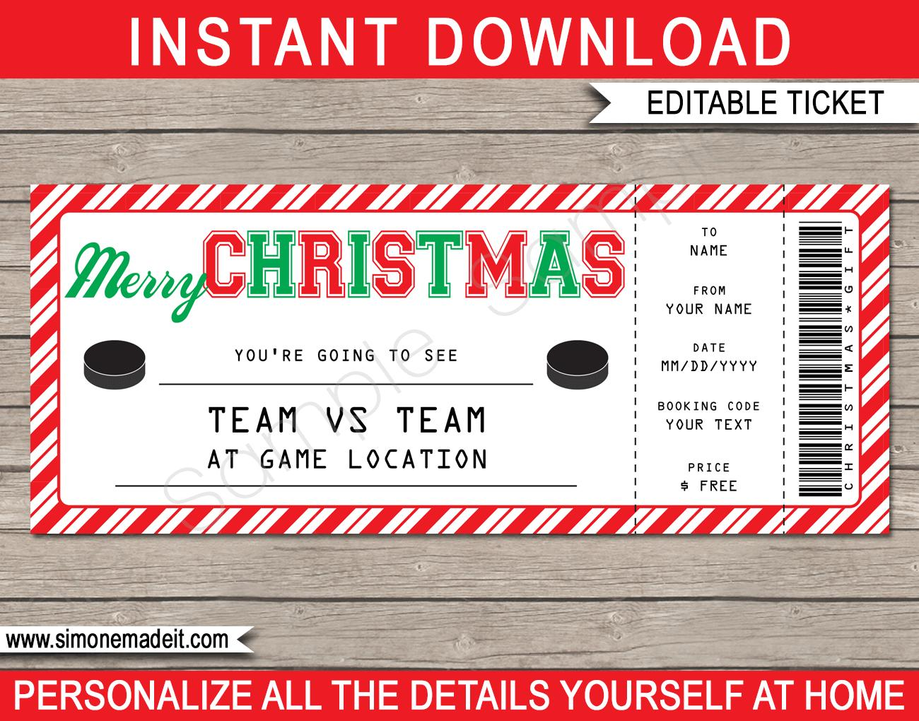 Christmas Gift Ticket Template