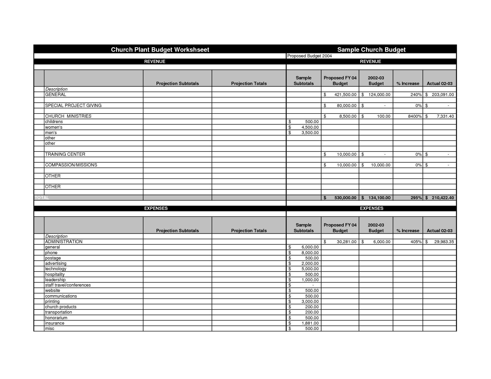 Church Budget Worksheet Template