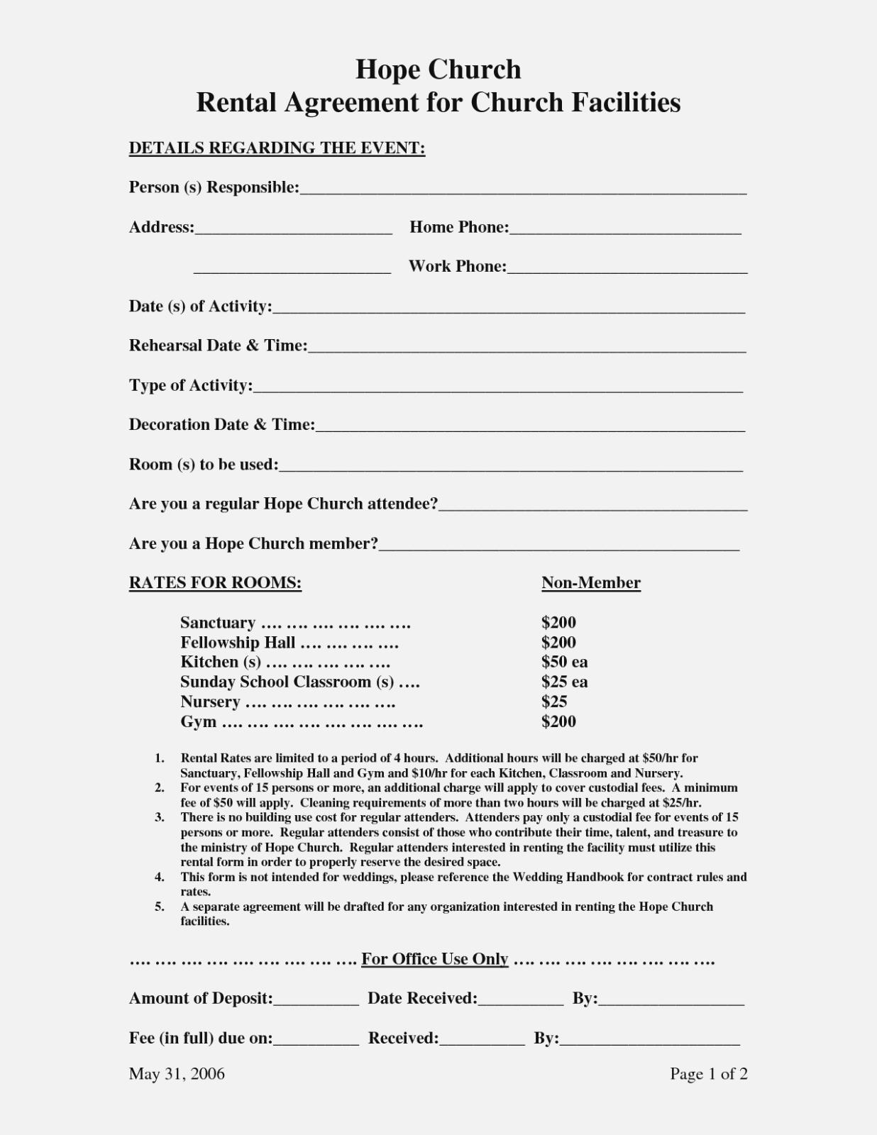 Church Hall Rental Agreement Forms