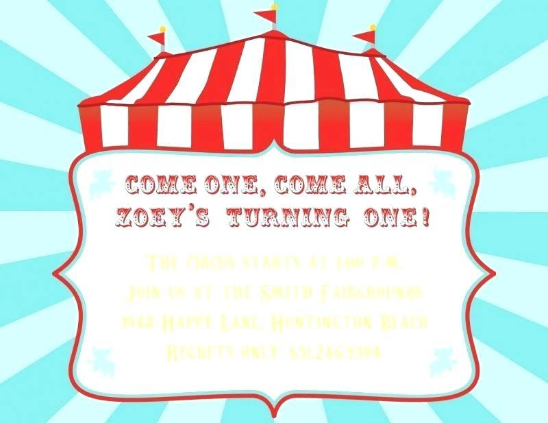 Circus Theme Invitation Templates Free