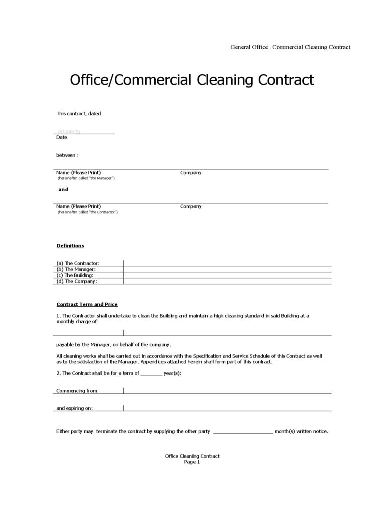 Residential Cleaning Service Agreement Form Templates