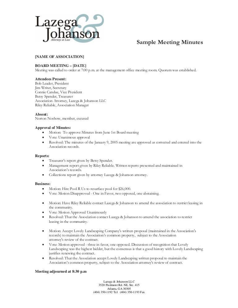 Club Meeting Minutes Sample