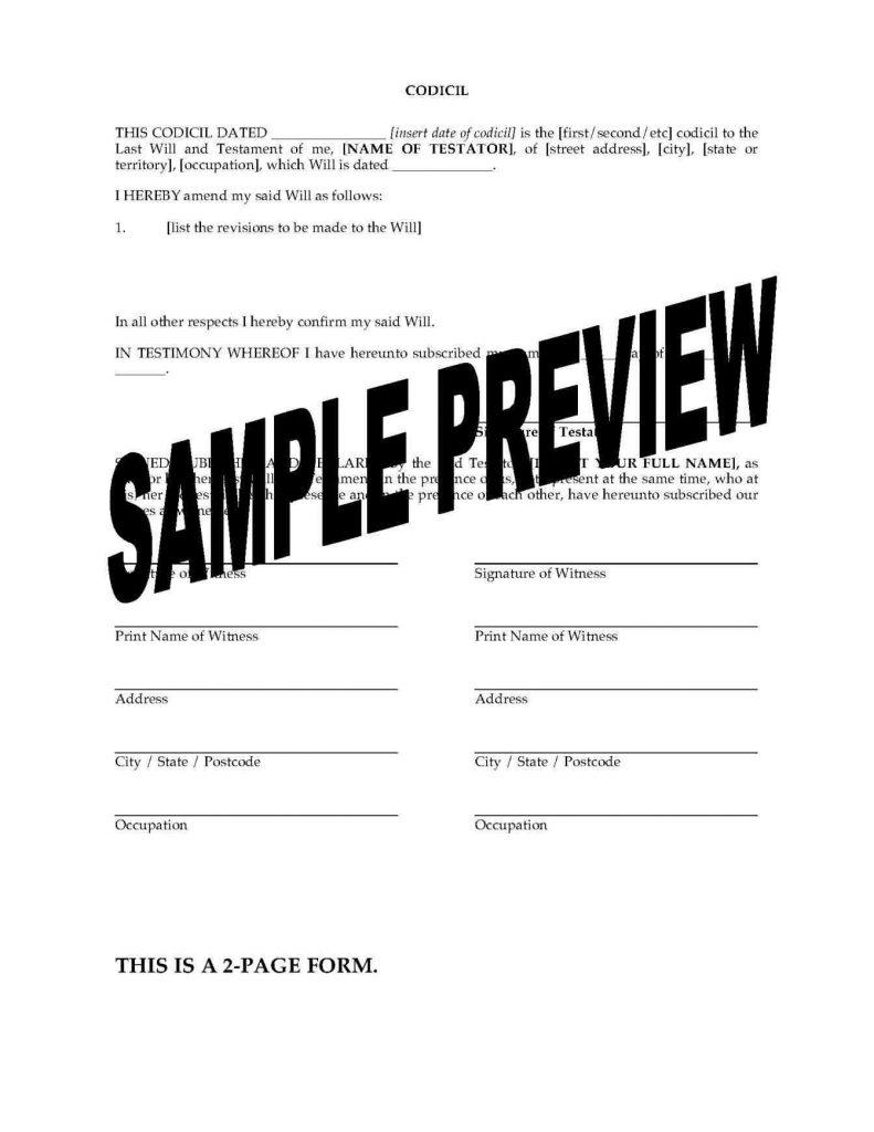image regarding Free Printable Codicil Form identify Codicil Template No cost - Templates #65029 Resume Illustrations