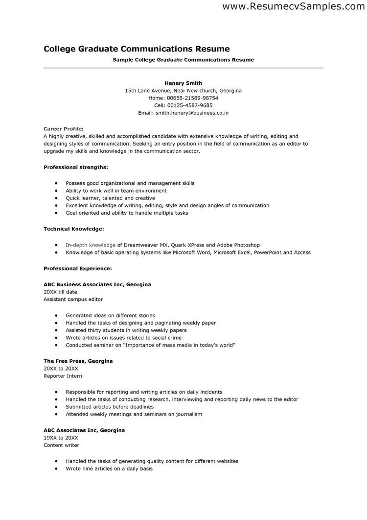 College Entrance Resume Template