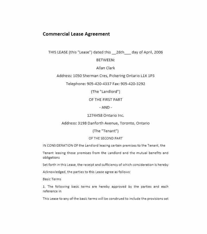 Commercial Lease Agreement Template Scotland