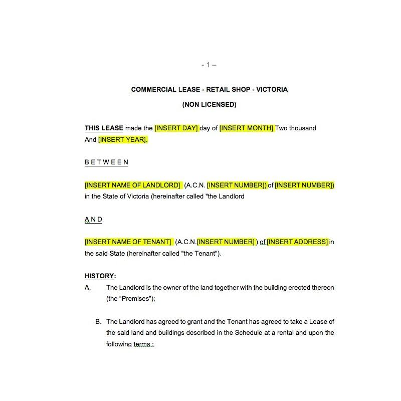 Commercial Lease Template Victoria