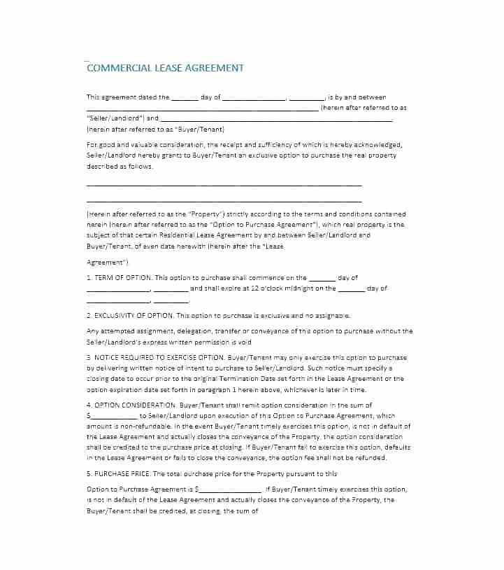 Commercial Lease To Own Agreement Template