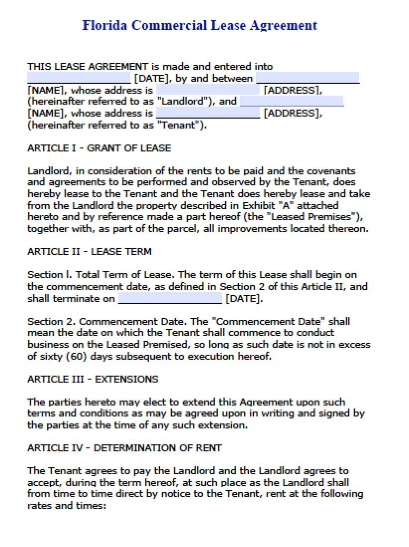 Commercial Lease Word Doc