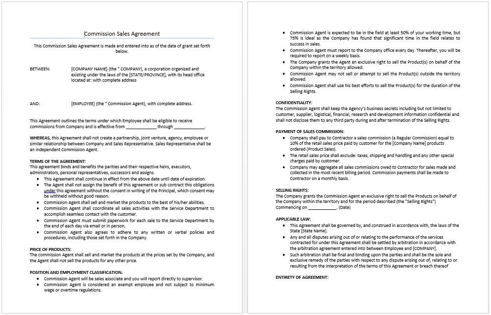 Commercial Property Sales Contract Template