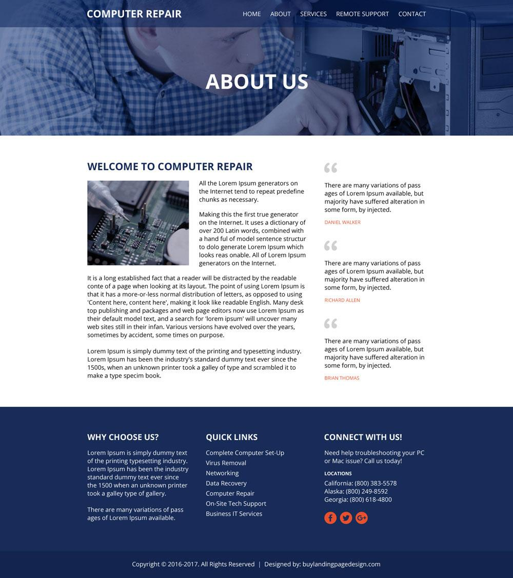Computer Repair Services Website Template