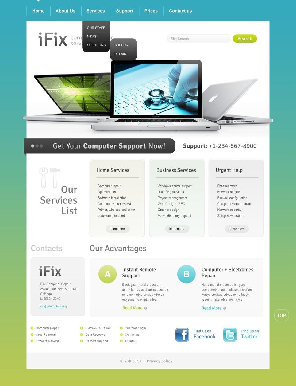 Computer Repair Website Templates