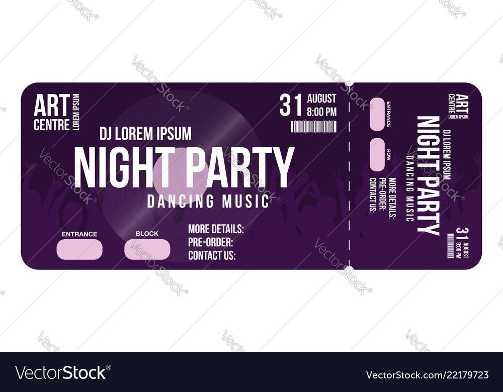 Concert Ticket Template Vector