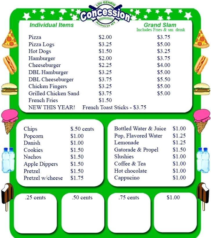 Concession Stand Food Menu Template