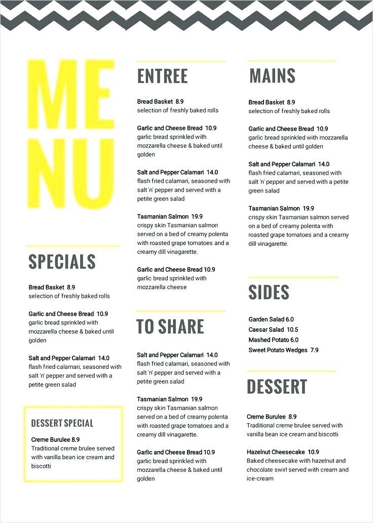 Concession Stand Menu Template Download