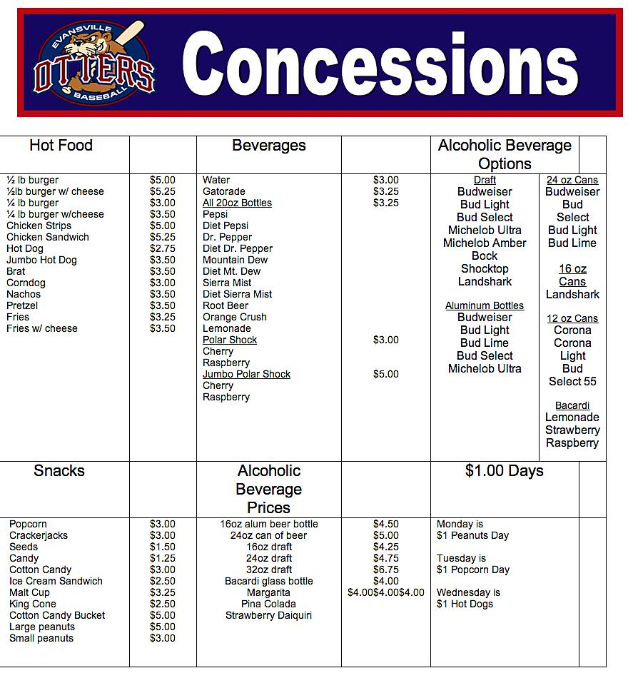 Concession Stand Menu Template Free