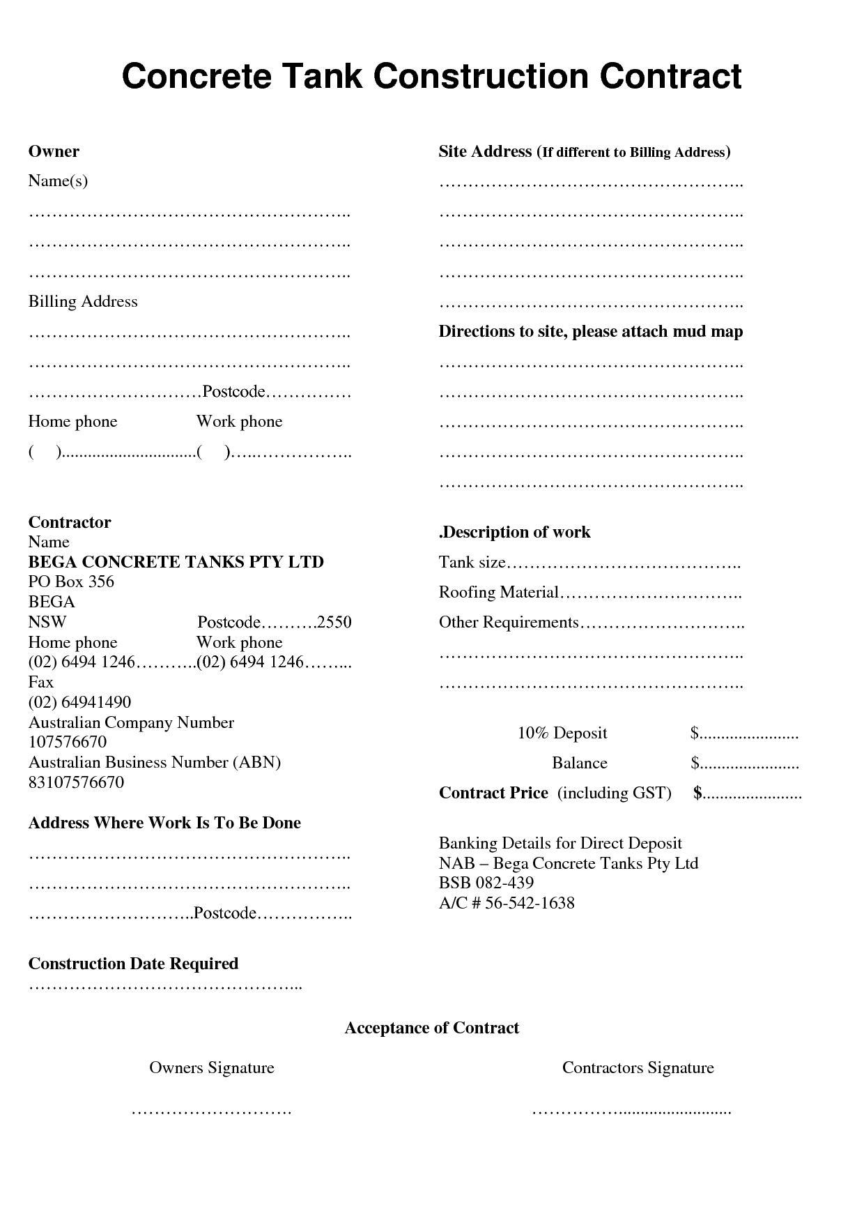 Concrete Contract Template