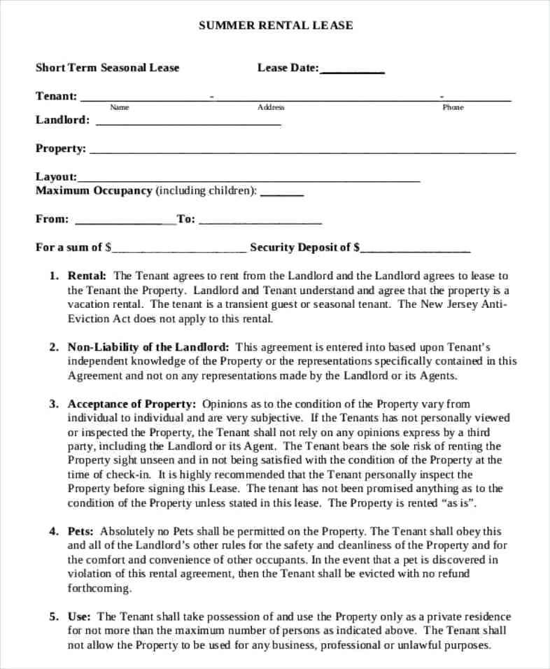 Condo Rental Agreement Form Ontario