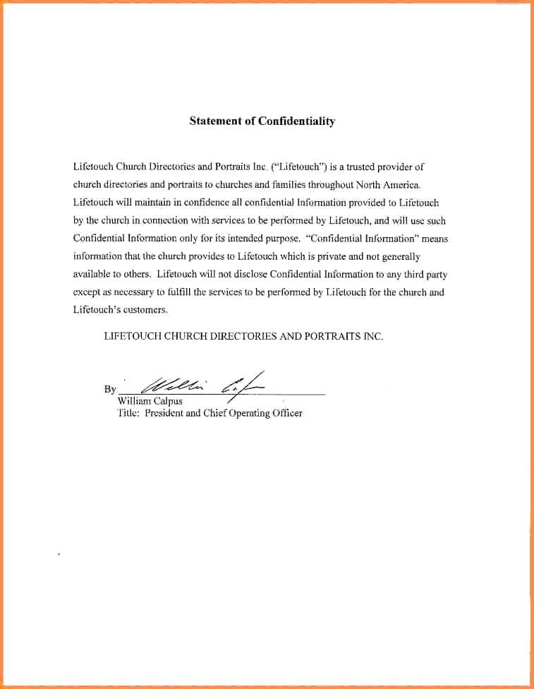 Confidentiality Agreement Template Email