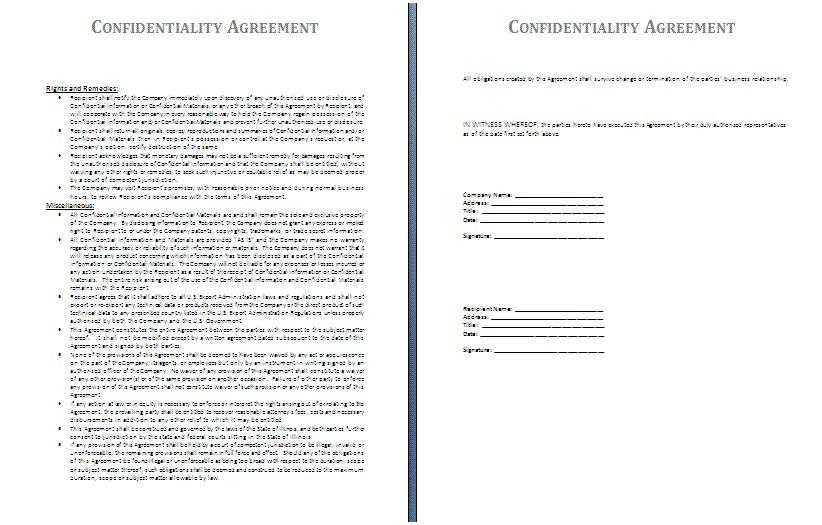 Confidentiality Agreement Template For Contractors