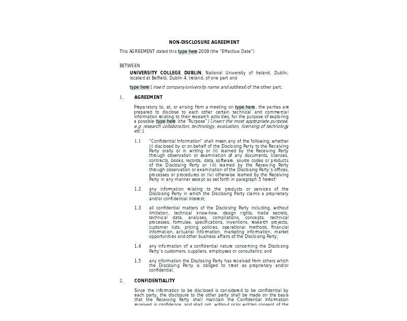 Confidentiality Agreement Template Ireland