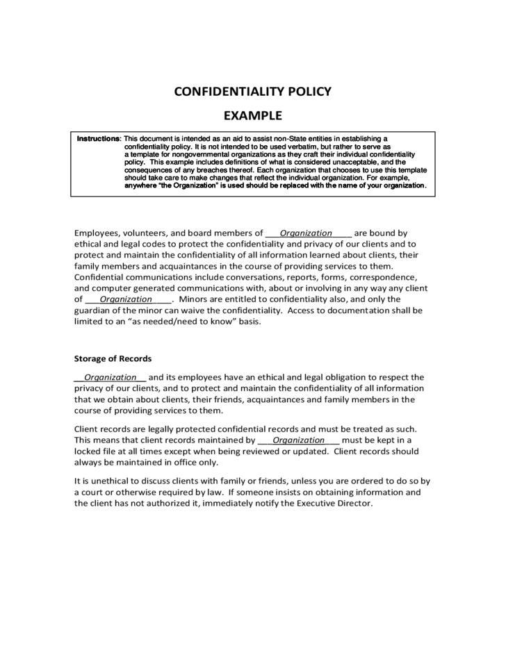 Confidentiality Policy Template