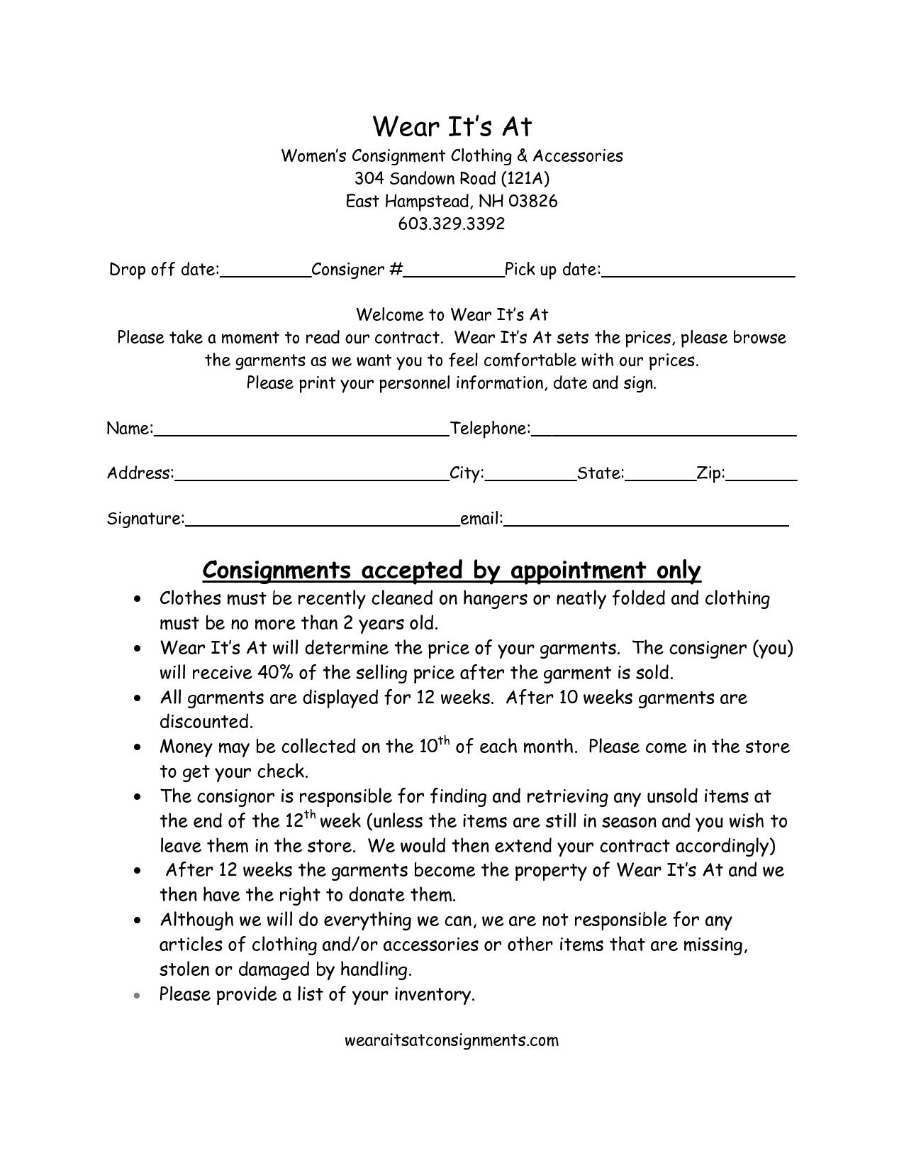 Consignment Contract Samples