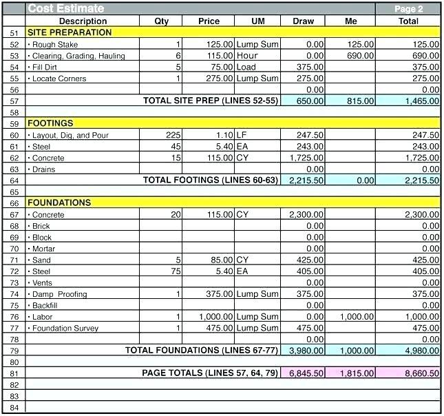 Construction Cost Spreadsheet Template