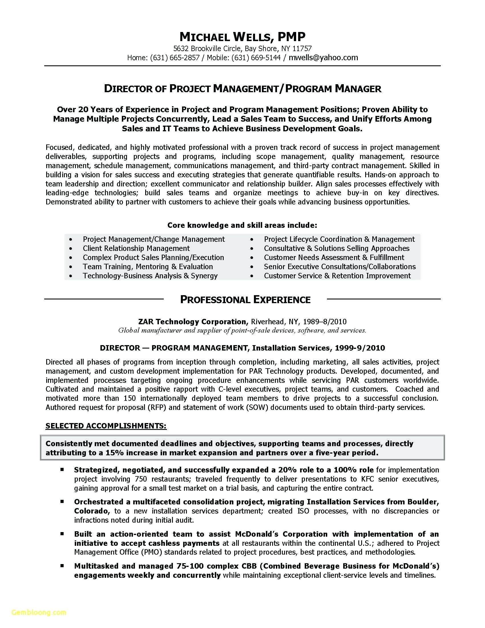 Construction Project Manager Resume Template Free