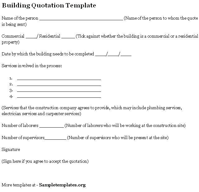 Construction Project Quote Template