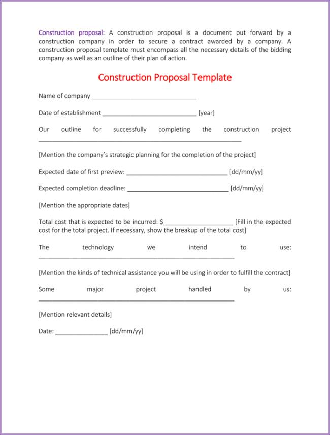 Construction Proposal Sample