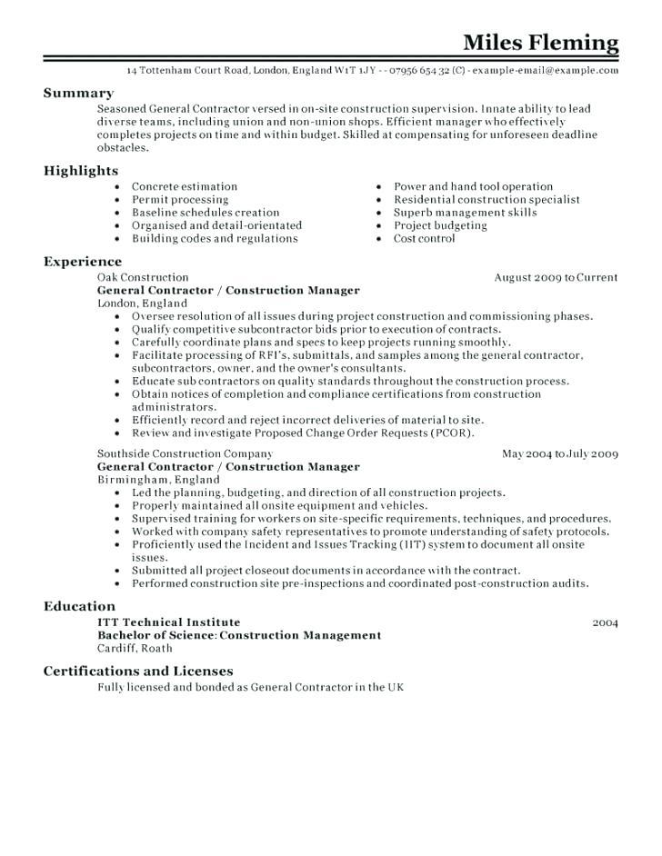 Construction Superintendent Job Resume Sample