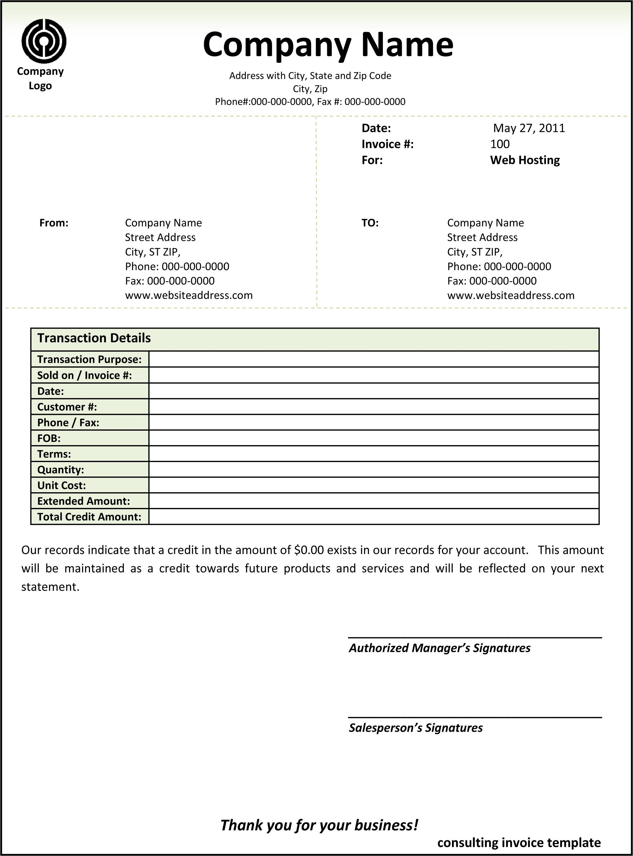 Consulting Invoice Examples