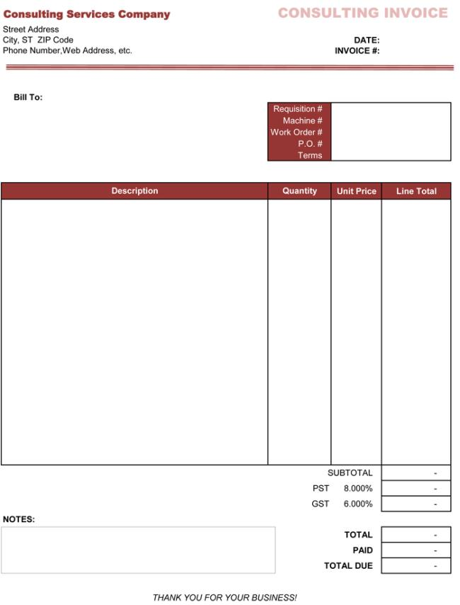 Consulting Invoice Templates