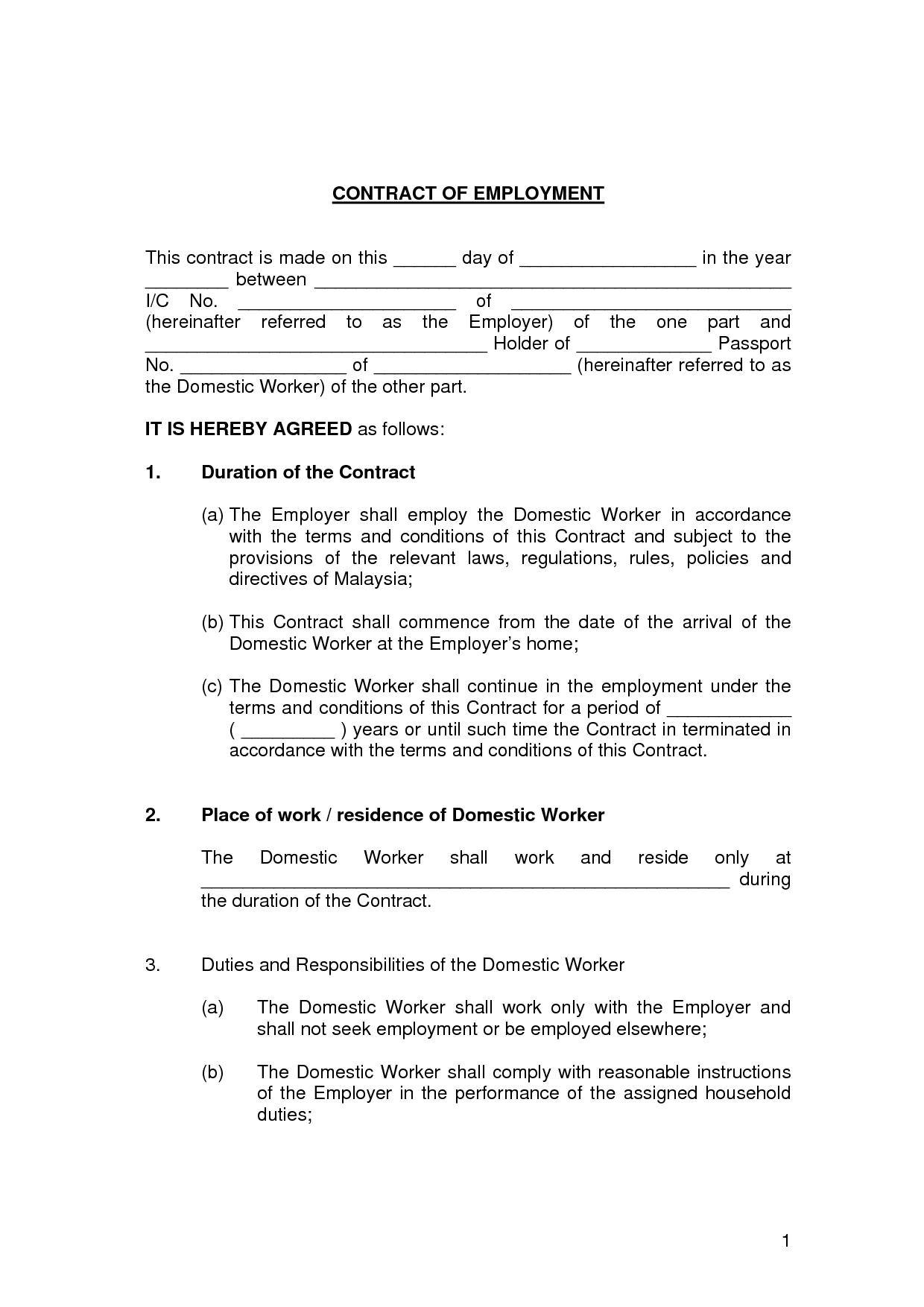 Contract Employment Contract Sample