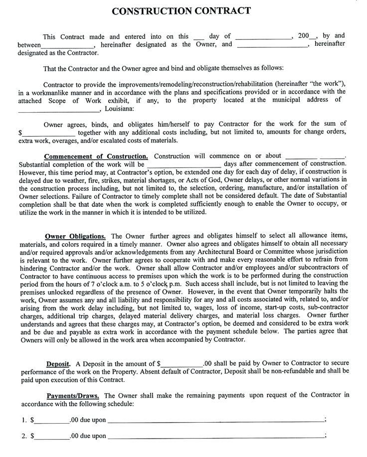 Contract Employment Template Construction Industry