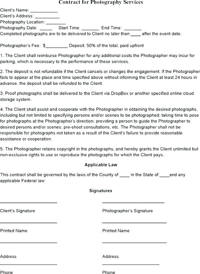 Contract For Photography Services Template