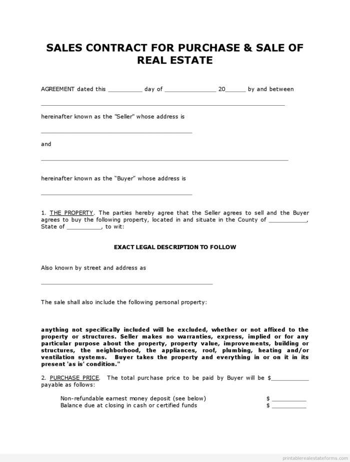 Contract For Sale Of Land Example