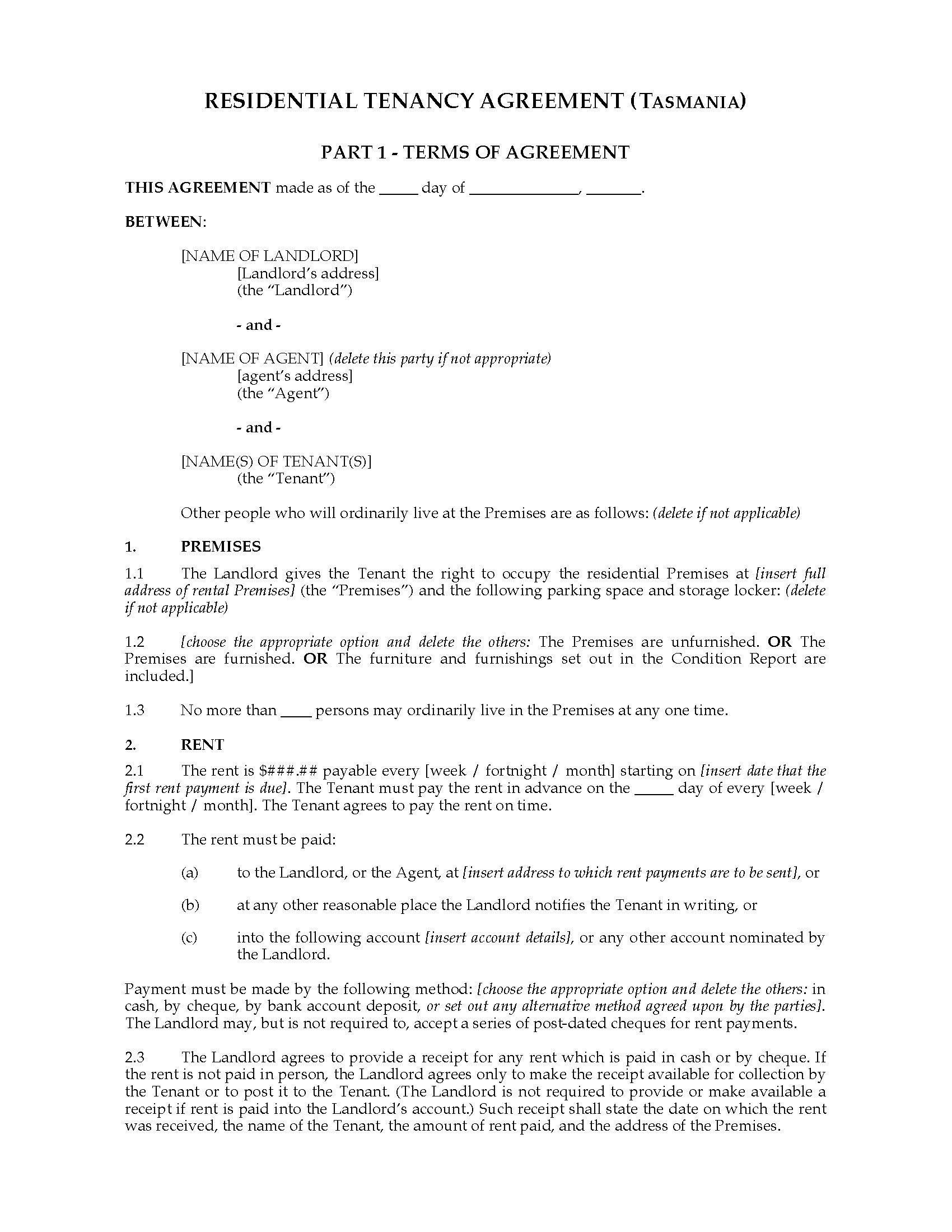 Contract For Sale Of Land Template Tasmania