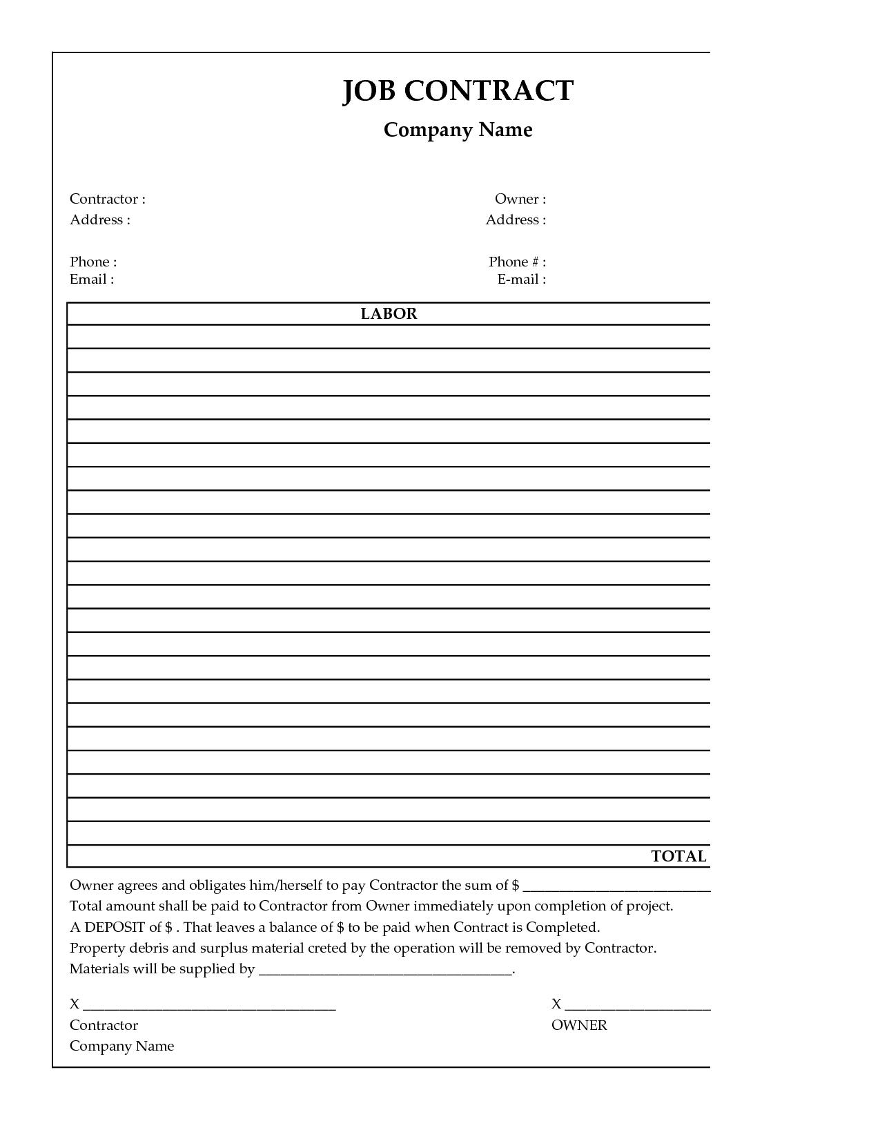 Contractor Contracts Templates