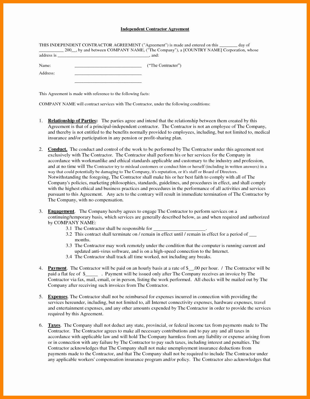 Contractors Agreement Template