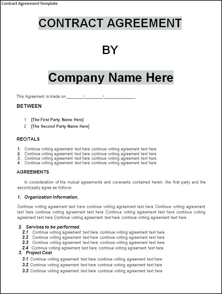 Service Occupancy Agreement Template Templates 134241