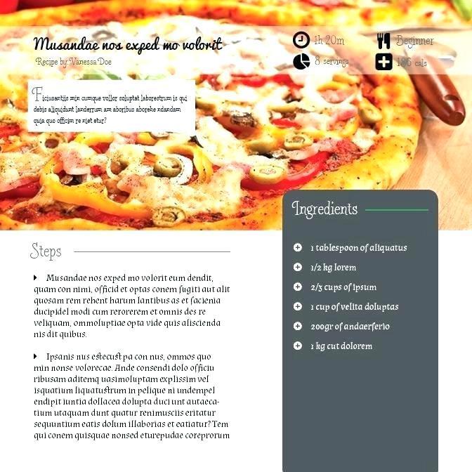 Cookbook Templates Word
