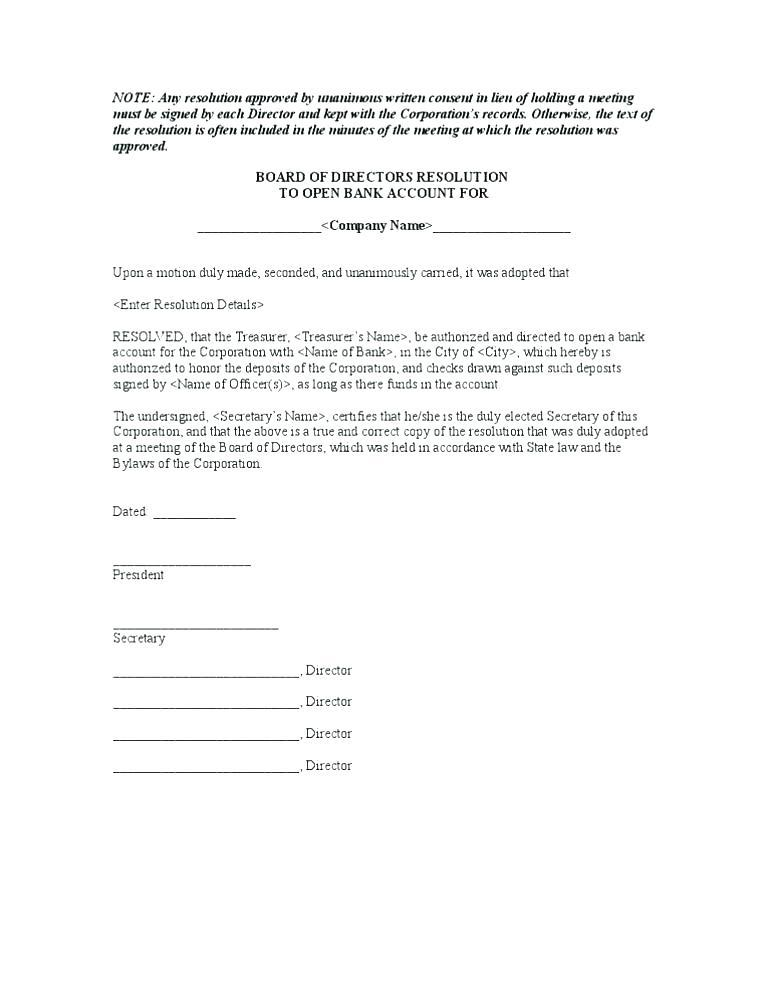Corporate Resolution Letter Example