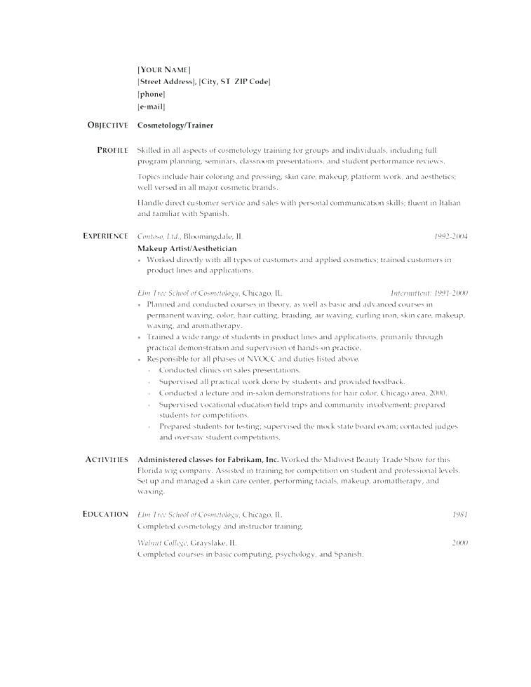 Creative Cosmetology Resume Templates
