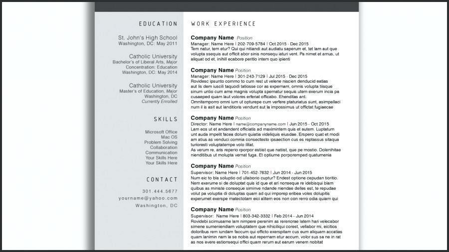 Creative Resume Templates For Microsoft Word
