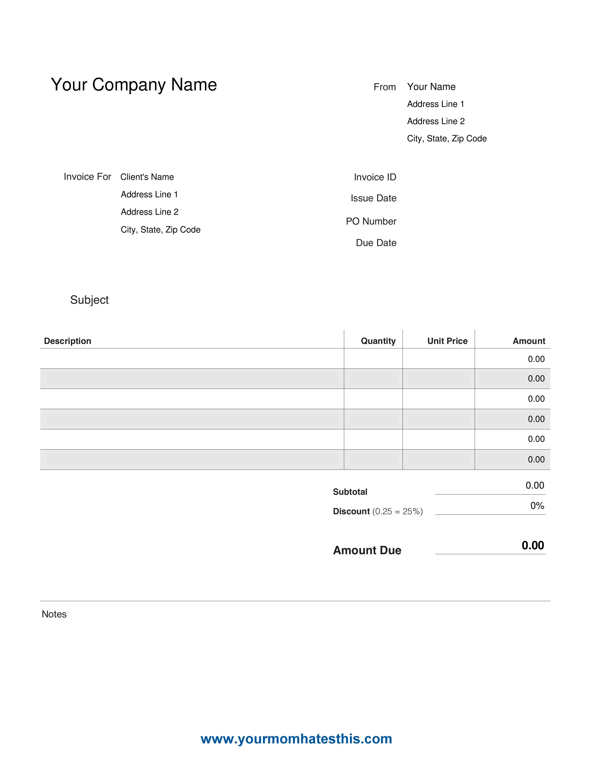 Custom Invoice Format Excel