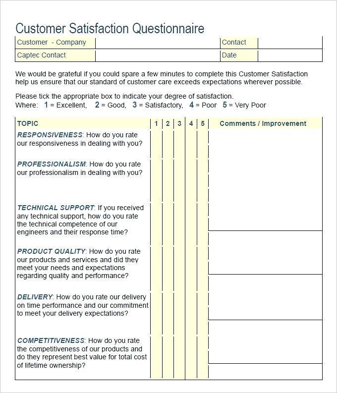 Customer Survey Templates Pdf
