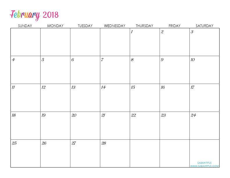Customized Calendar Template 2018